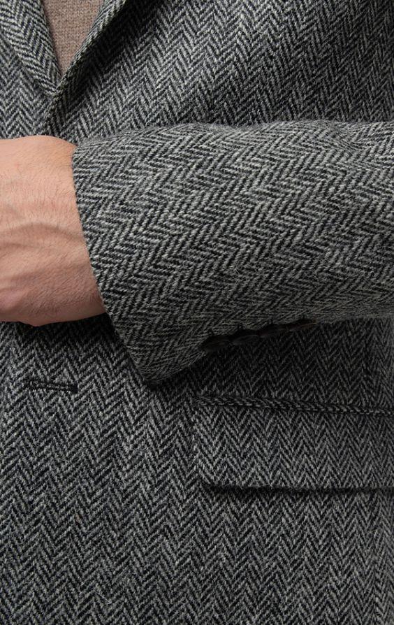 Harris Tweed Grey Herringbone Tweed Jacket | Dobell